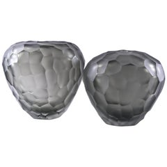 Set of Two Murano Glass Gray Deep Battuto Vases in the Style of Carlo Scarpa