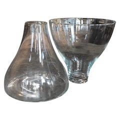 Set of Two Murano Glass Vases by Angelo Mangiarotti for Knoll, Italy, 1960s