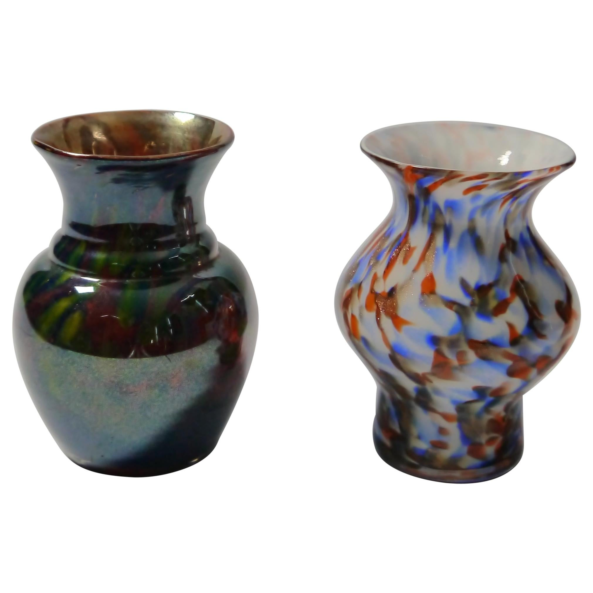 Set of Two Murano Glass Vases, Italy, 1960s