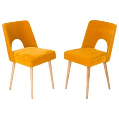 Set of Two Mustard Yellow Velvet 'Shell' Chairs, 1960s