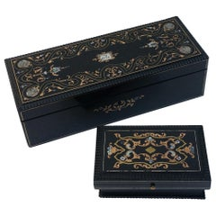 Set of Two Napoleon III Jewelry and Pill Boxes in Boulle Style, France