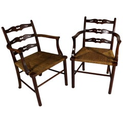 Set of Two Oak Dining Armchairs, Woven Rush Seat, circa 1900