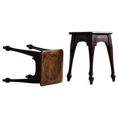 Set of Two Oak Stools, Early 20th Century