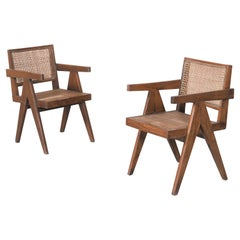 "Set of Two ""Office Cane Chairs"" circa 1955 by Pierre Jeanneret"