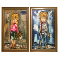 Set of Two Oil Paintings of Children