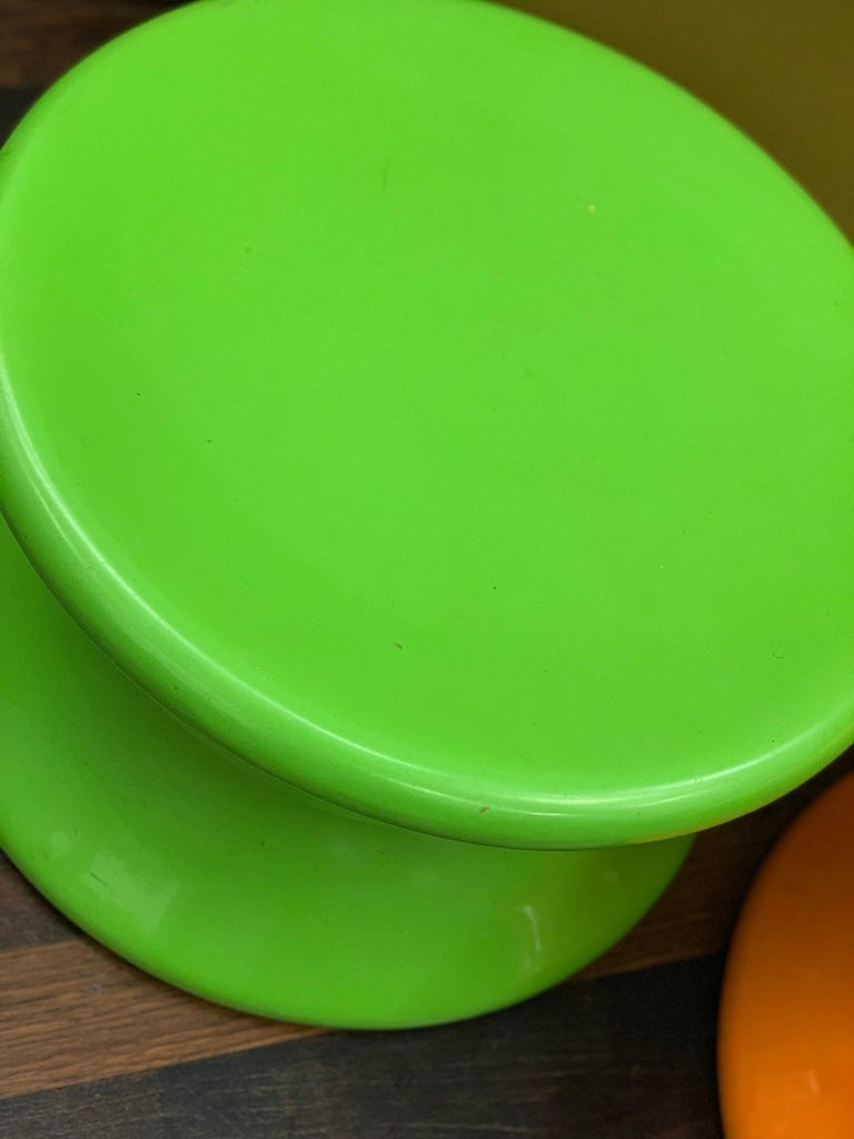 Set of Two Orange and Green Mushroom Designed by Eero Aarnio For Sale 8