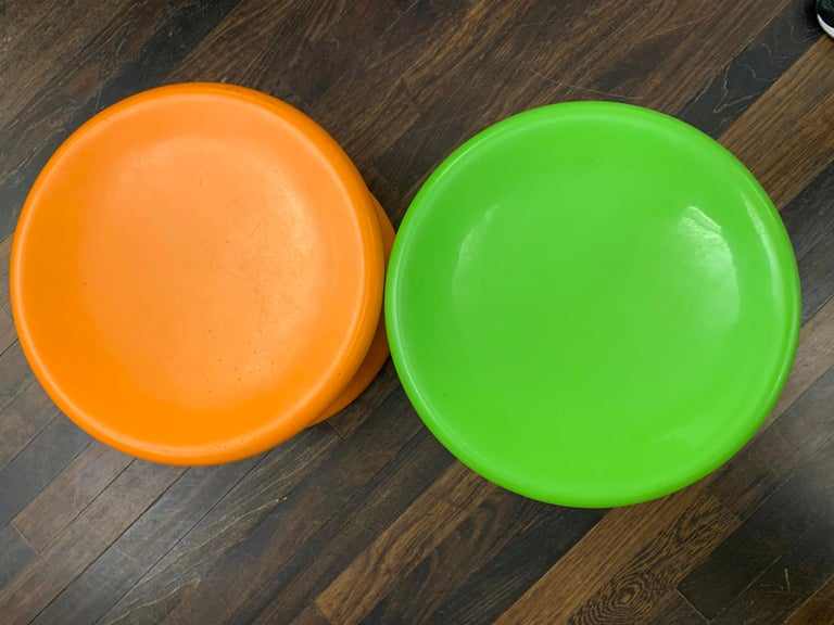 Set of Two Orange and Green Mushroom Designed by Eero Aarnio For Sale 9