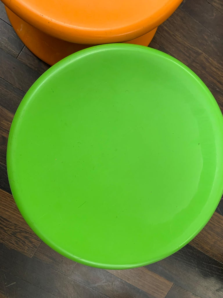 Contemporary Set of Two Orange and Green Mushroom Designed by Eero Aarnio For Sale