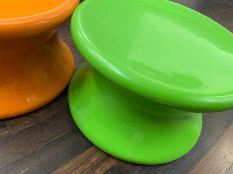 Fiberglass Set of Two Orange and Green Mushroom Designed by Eero Aarnio For Sale