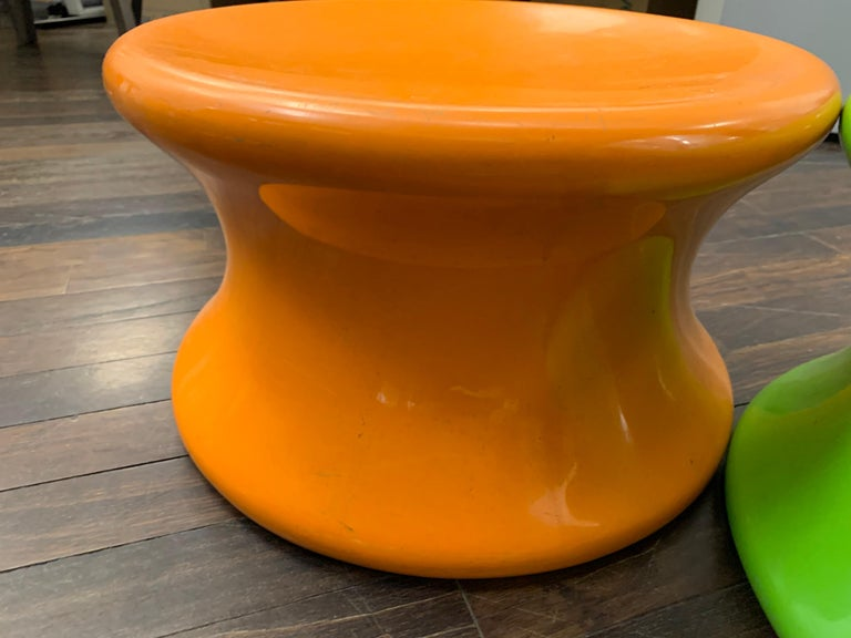 Set of Two Orange and Green Mushroom Designed by Eero Aarnio For Sale 1