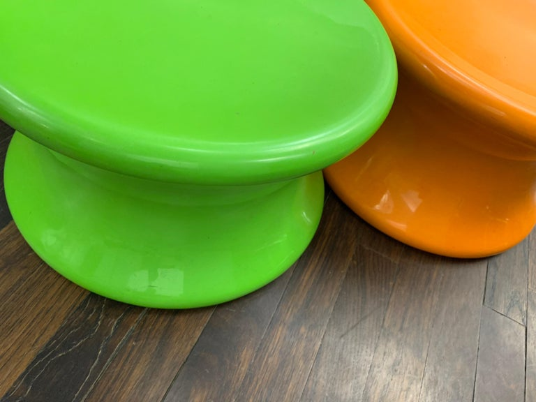 Set of Two Orange and Green Mushroom Designed by Eero Aarnio For Sale 2
