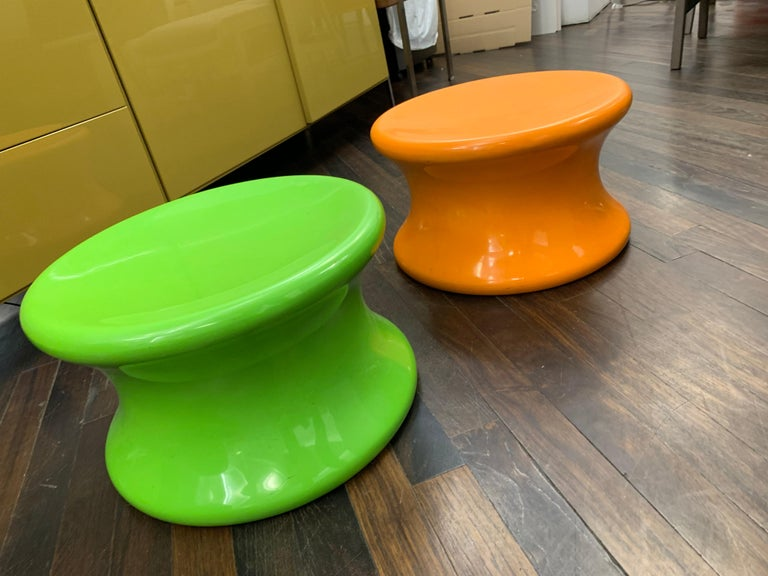 Set of Two Orange and Green Mushroom Designed by Eero Aarnio For Sale 3