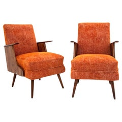 Set of Two Orange Armchairs in Polish Retro Design, 1950s