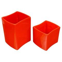 Set of Two Orange Ceramics Vase Franco Bettonica for Gabbianelli, Italy, 1970s