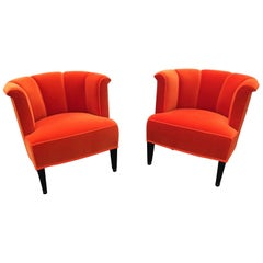 Set of Two Orange Velvet Josef Hoffmann Alleegasse