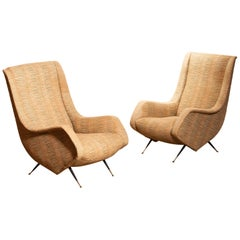 Set of Two Original Easy Chairs from the 1950s by Aldo Morbelli for Isa Bergamo