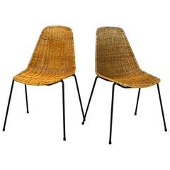 Set of Two Original Mid-Century Modern Gian Franco Legler Basket Chairs