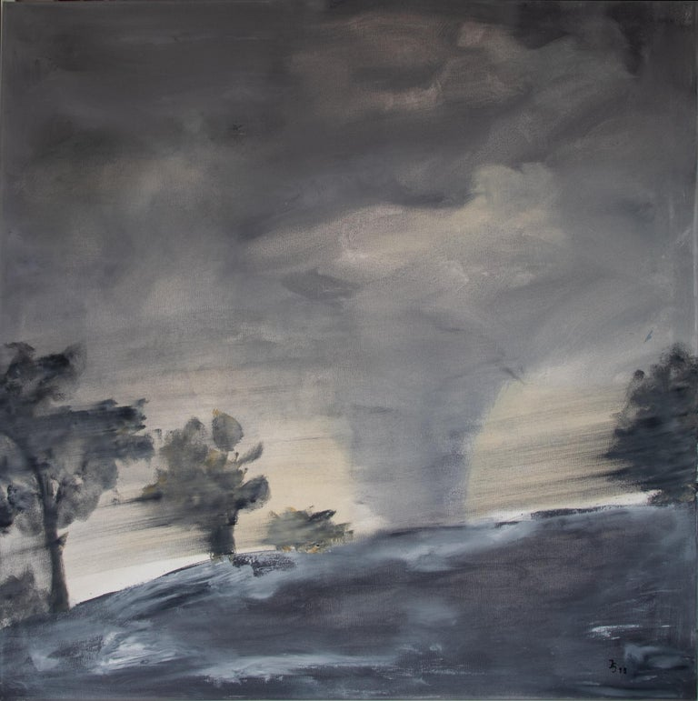 Diptychon: German post expressionism paintings 'Landscape', 2019 by Ingrid Stolzenberg (former Ellmauer). Ingrid Stolzenberg lives and works near Frankfurt, Germany. She has been exhibiting her work at solo and group shows and is nominated for the