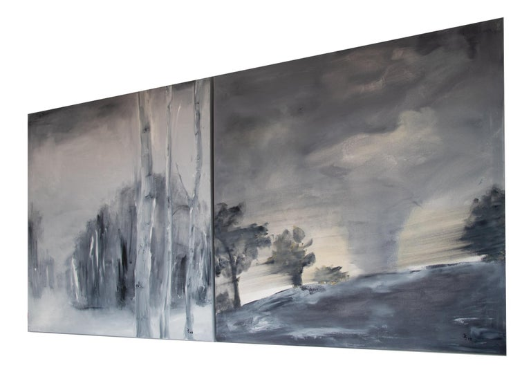 Post-Modern Set of Two Paintings by Ingrid Stolzenberg 'Landscape' German Post Expressionism For Sale