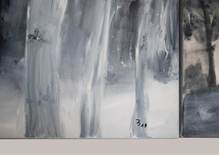 Set of Two Paintings by Ingrid Stolzenberg 'Landscape' German Post Expressionism In Excellent Condition For Sale In Niederdorfelden, Hessen