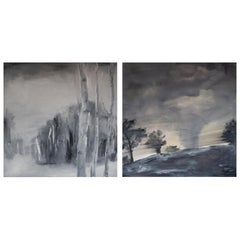 Set of Two Paintings by Ingrid Stolzenberg 'Landscape' German Post Expressionism