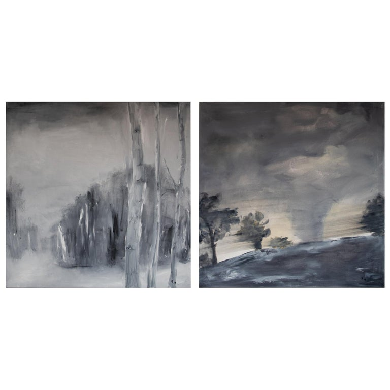 Set of Two Paintings by Ingrid Stolzenberg 'Landscape' German Post Expressionism For Sale