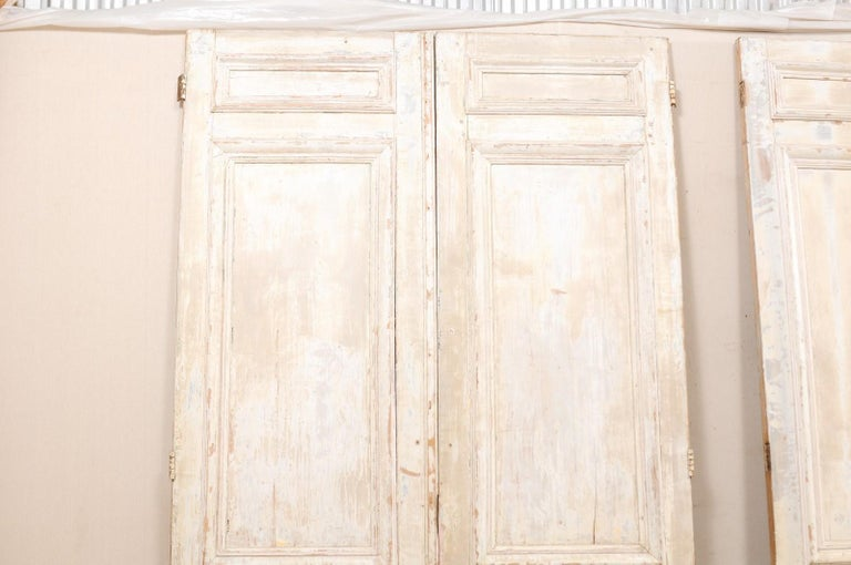 Carved Set of Two Pairs of 19th Century Painted Wood French Doors For Sale