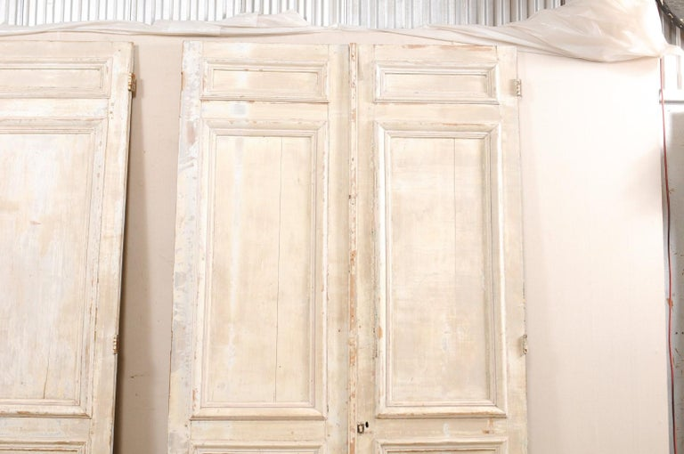 Set of Two Pairs of 19th Century Painted Wood French Doors In Good Condition For Sale In Atlanta, GA