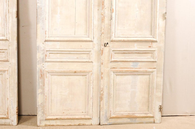 Set of Two Pairs of 19th Century Painted Wood French Doors For Sale 1