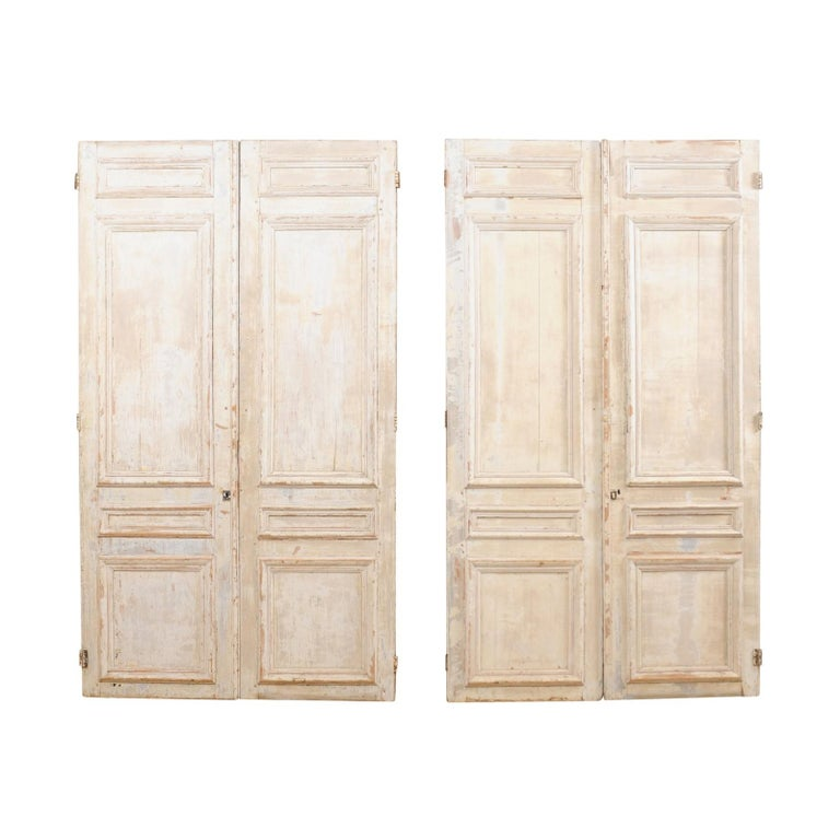 Set of Two Pairs of 19th Century Painted Wood French Doors For Sale