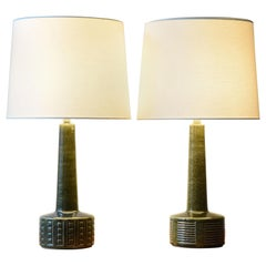 Set of Two Palshus Tall Table Lamps Green Danish Midcentury Ceramic, 1960s
