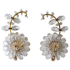 Set of Two Palwa Crystal & Gilt Brass Flower Sconces or Wall Lamps 1960s Germany