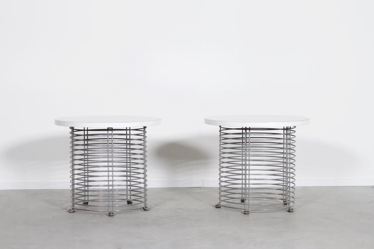 Space Age Set of Two 'Pantonova' Wire Tables by Verner Panton for Fritz Hansen, 1971 For Sale