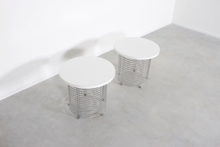 Danish Set of Two 'Pantonova' Wire Tables by Verner Panton for Fritz Hansen, 1971 For Sale