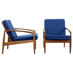 Set of Two Paper Knife Lounge Chairs by Kai Kristiansen for Magnus Olesen, 1950s