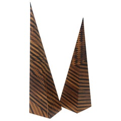 Set of Two Parquetry Wood Obelisks