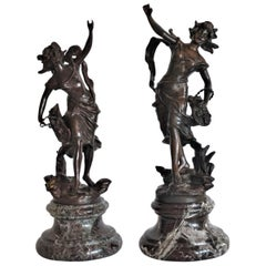 Set of Two Patinated Bronze Female Figures on Marble Basis, Signed Geo Maxim