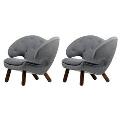 Set of Two Pelican Chairs by Finn Juhl in Fabric and Wood