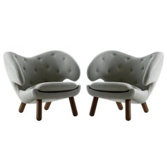 Set of Two Pelican Chairs by Finn Juhl in Wood and Fabric