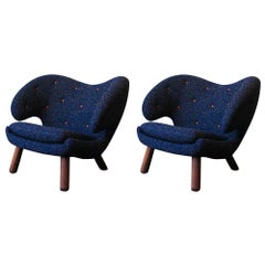 Set of Two Pelican Chairs in Fabric and Wood by Finn Juhl