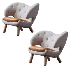Set of Two Pelican Chairs in Fabric, Leather Cushion and Wood by Finn Juhl