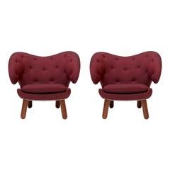 Set of Two Pelican Chairs in Garnet Kvadrat Remix and Wood by Finn Juhl