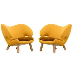 Set of Two Pelican Chairs Upholstered in Fabric and Wood by Finn Juhl