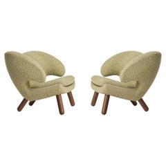 Set of Two Pelican Chairs Upholstered in Raf Simons Fabric by Finn Juhl