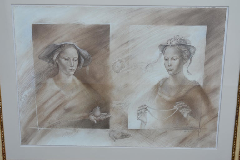 Two mixed-media portraits of women. Pencil and charcoal. The frames are 19th century but the art work is signed Peter Nickel 1987.