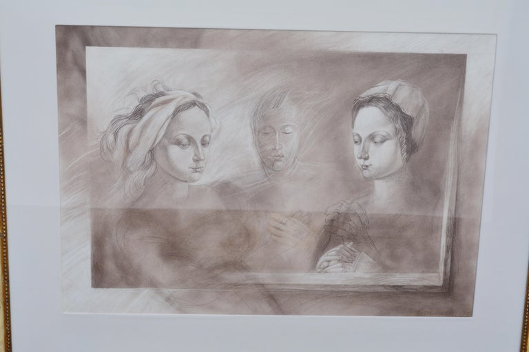 English Set of Two Pencil and Charcoal Portraits For Sale