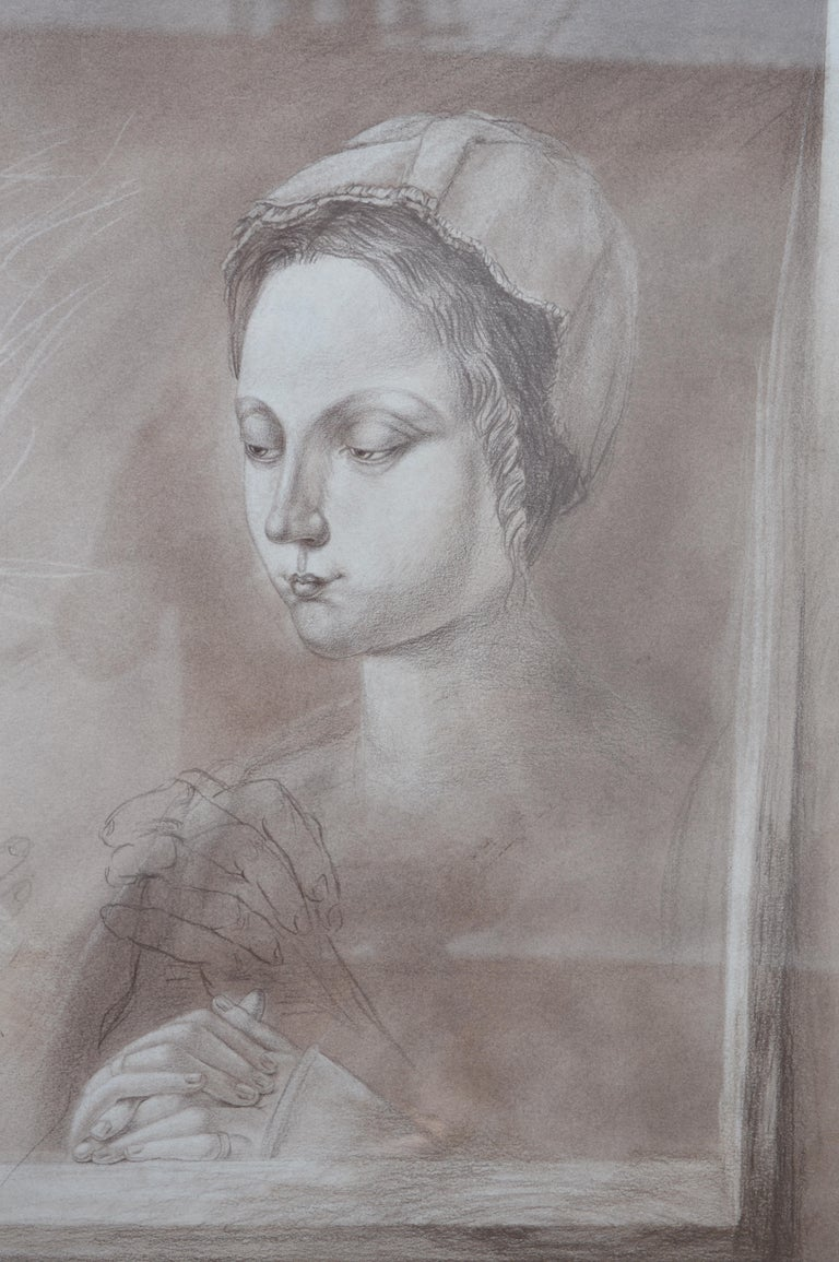 Set of Two Pencil and Charcoal Portraits In Good Condition For Sale In Los Angeles, CA