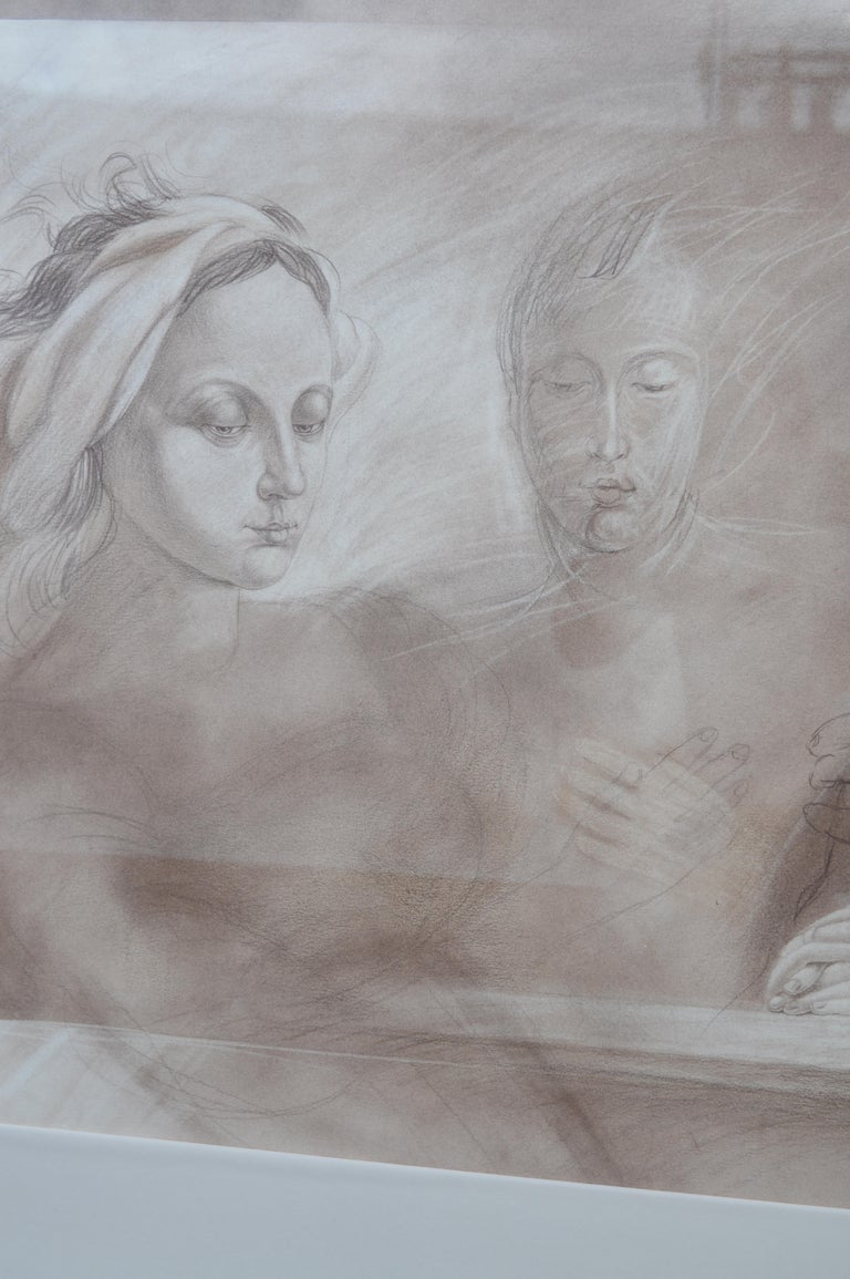 20th Century Set of Two Pencil and Charcoal Portraits For Sale