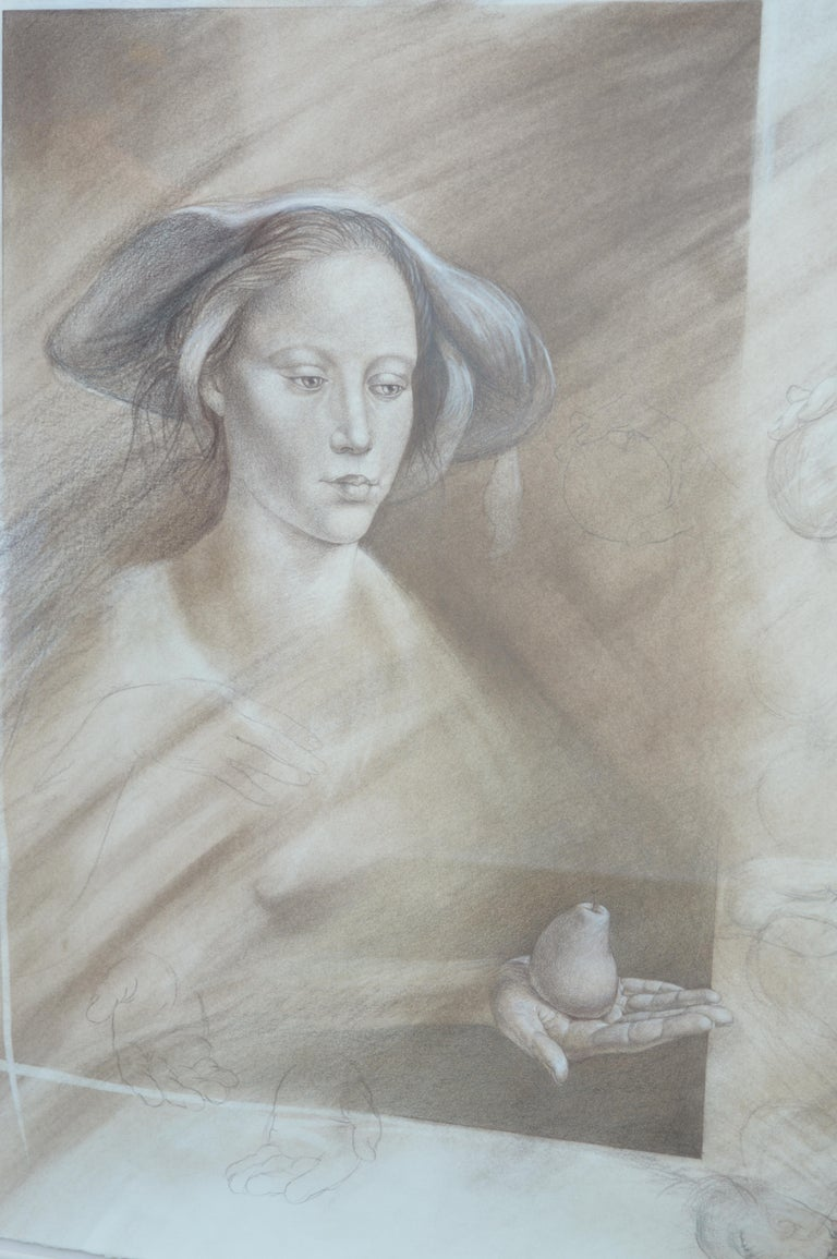 Set of Two Pencil and Charcoal Portraits For Sale 3