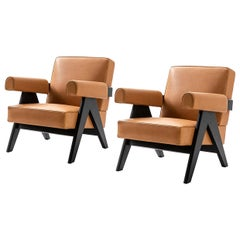 Set of Two Pierre Jeanneret 053 Capitol Complex Armchairs by Cassina